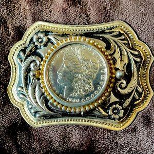 Morgan silver dollar buckle 1900